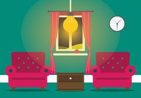 Chaud Living Room avec le vecteur de la lampe moderne
