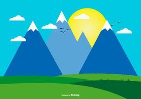 Illustration mignon paysage plat vecteur