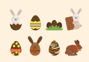Vecteurs de chocolat de Pâques plat vecteur