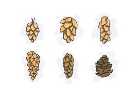 Pine Cones vecteurs uniques gratuit vecteur