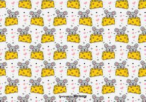 Souris doodle et fromage modèle vectoriel