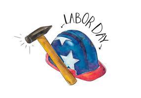Construction patriotique Hemelt avec un marteau avec le drapeau USA Couleur vecteur