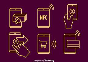 Nfc ligne de paiement Vector Icons