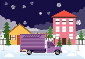 Le jour du déménagement dans l'arrière-plan vecteur neige