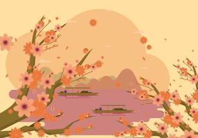 Contexte élégant printemps fleur de pêche gratuit vecteur