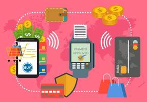 Paiement avec le système NFC vecteur