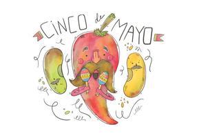 Caractère heureux Jalapeno Avec Mustache Vector pour Cinco de Mayo