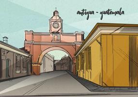 Vieille ville coloniale d'Antigua fond vecteur