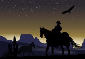 Gaucho Nuit Silhouette vecteur