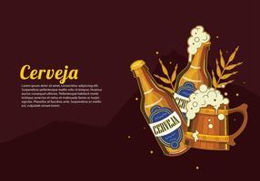 Cerveja bouteille ouverte vecteur libre