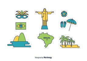 Brésil Icons Set vecteur