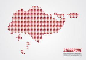 Singapour 3D Dotted Carte vecteur