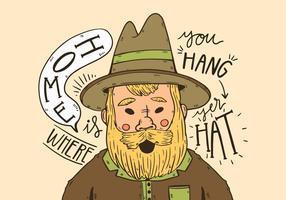Cowboy mignon avec une longue barbe jaune et devis vecteur