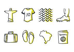 Icône de Doodle du Brésil vecteur