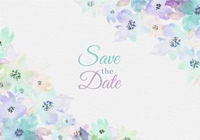 Aquarelle Enregistrer vecteur libre la carte de date avec des fleurs peintes
