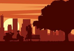 Couple Scooter Sunset vecteur gratuit