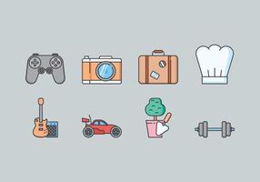 Ensemble d'icônes de loisirs vecteur