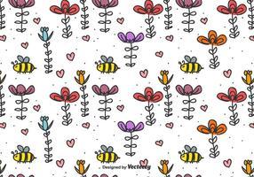 Arrière-plan vecteur abeille et fleurs