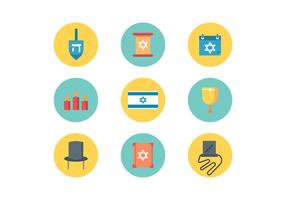Judaïsme plat icônes vecteur