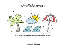 Doodle Summer Set vecteur
