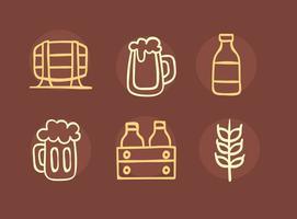 Belle bière élément d'esquisse icônes vecteur