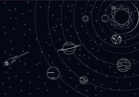 Outline Vector système solaire gratuit