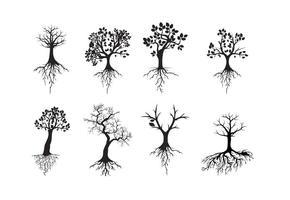 Arbre silhouettes noir libre avec des racines vecteur