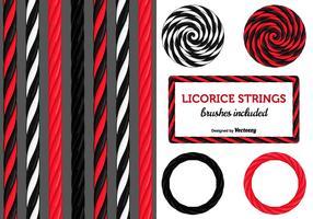 Cordes de bonbon de réglisse noir et rouge vecteur