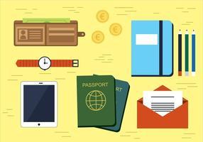 Illustration d'icônes de voyage vectoriel gratuit