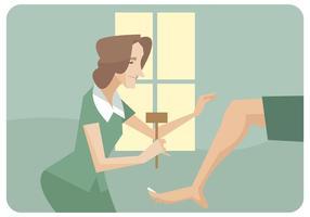 Physiothérapeute de femme donnant un vecteur de jambe de jambe