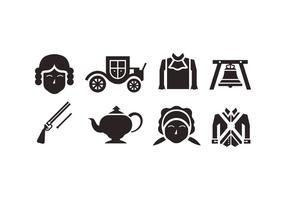icônes vectorielles coloniales vecteur