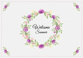 Illustration d'été vecteur libre avec cadre floral Aquarelle