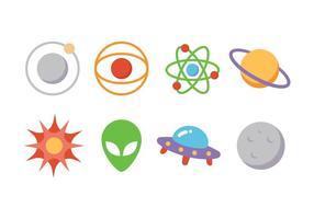 Ensemble d'icônes d'astronomie vecteur