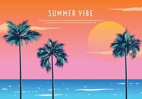 Palmetto Summer Sunset Free Vector