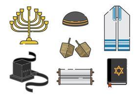 Tefillins et éléments vecteur juif