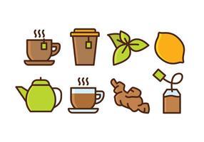 Set de thé à base de plantes d'icônes vecteur