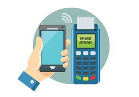 Paiement dans un commerce avec NFC système avec téléphone mobile vecteur