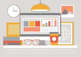 Flat Free Vector Design Illustration de bureau