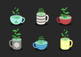 Stevia With Cup Vector Collection