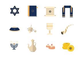 Tefillin et éléments vectoriels juifs vecteur