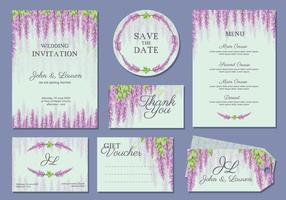 Wisteria Wedding Template Vector