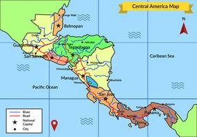 Détail du vecteur de carte de l'Amérique centrale