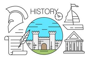 Icônes linéaires gratuites à propos de l'histoire vecteur