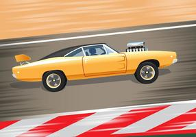Yellow Sport Dodge Charger 1970 vecteur