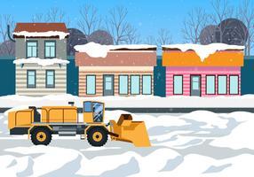 Heavy Snow Blower nettoie la route devant les magasins Scène vectorielle vecteur