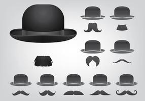 Icônes de chapeau et de moustache vecteur