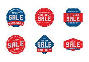Vente d'étiquettes du 4 juillet vecteur