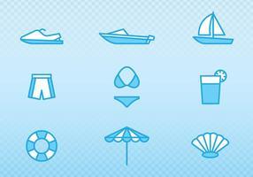 Icônes de contour de vacances et d'été vecteur