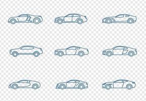 Ensemble d'icônes de voitures vecteur