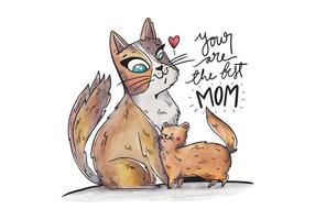 Cute Mom Cat Et Son Avec Le Cœur Et Lttering